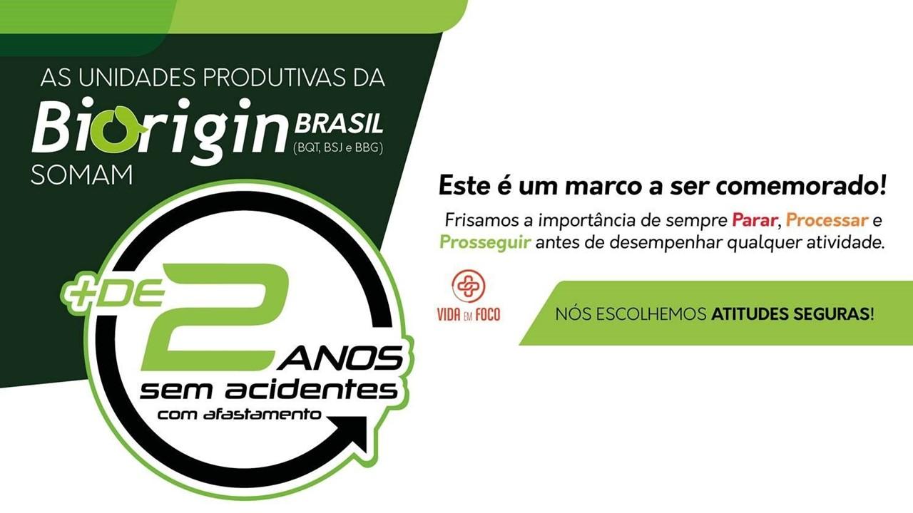 Biorigincomemora a marca de 2 anos sem acidentes